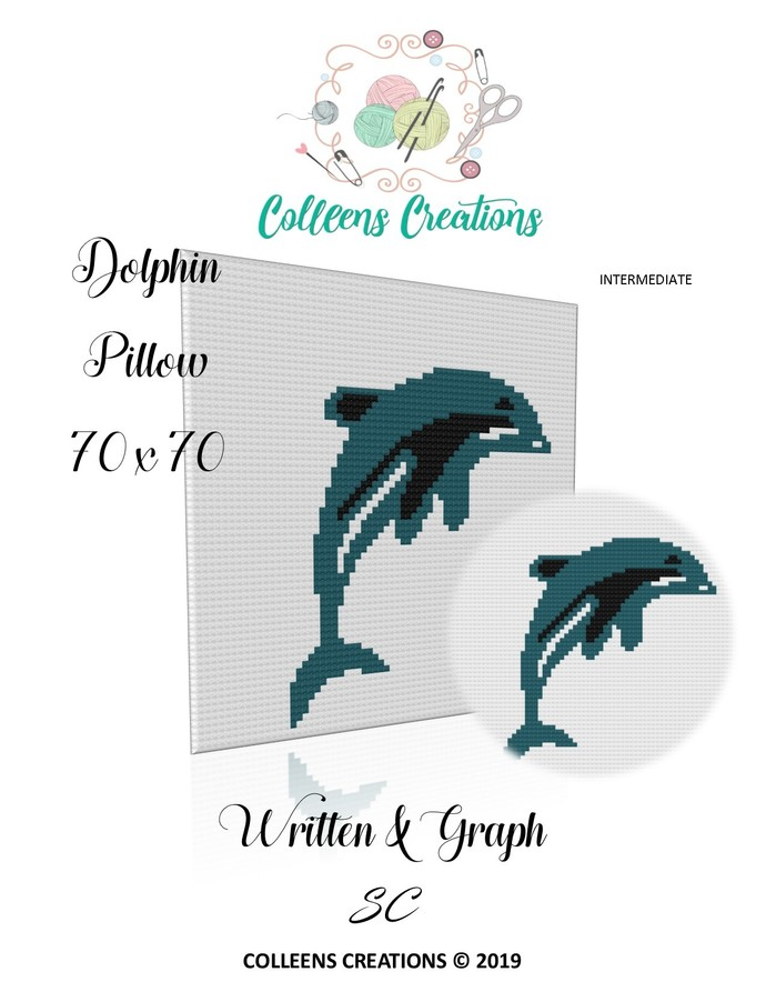 Dolphin Crochet Pillow/Block Written and Graph Design