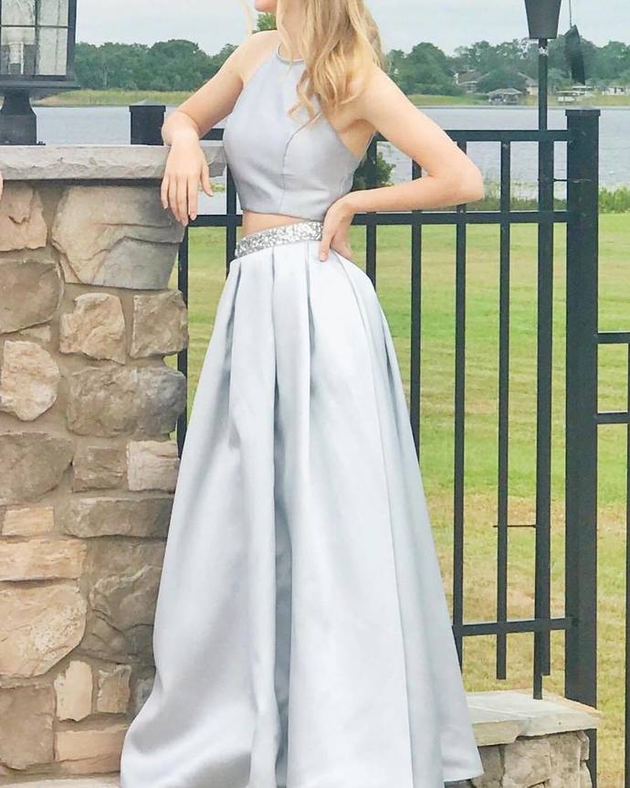 Gray Prom Dress,A-line Prom Gown,Two Pieces Prom Dress,Satin Wedding Gown 0061