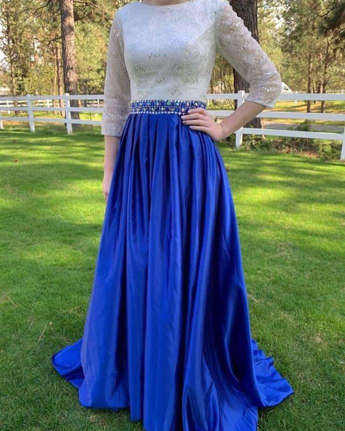 Charming Prom Dress,A-line Prom Gown,Long-Sleeves Prom Dress,Satin Wedding Gown