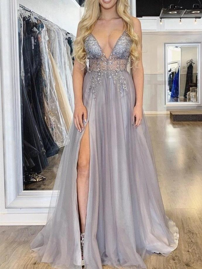 Sexy A-Line V Neck Eye-catching Illusion Prom Dresses Tulle Spaghetti Straps