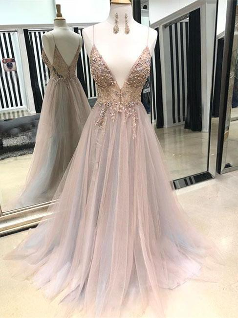 Eye-catching Illusion Prom Dresses Tulle Spaghetti Straps A-line Formal Gowns