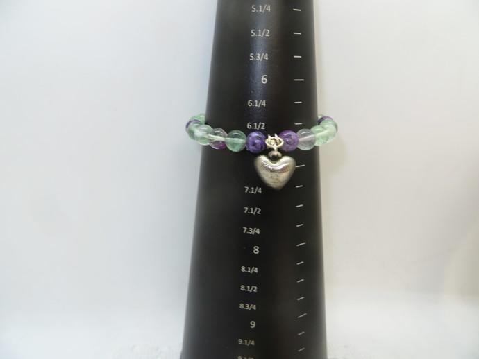 Gemstone Stretch bracelet with  Heart Charm