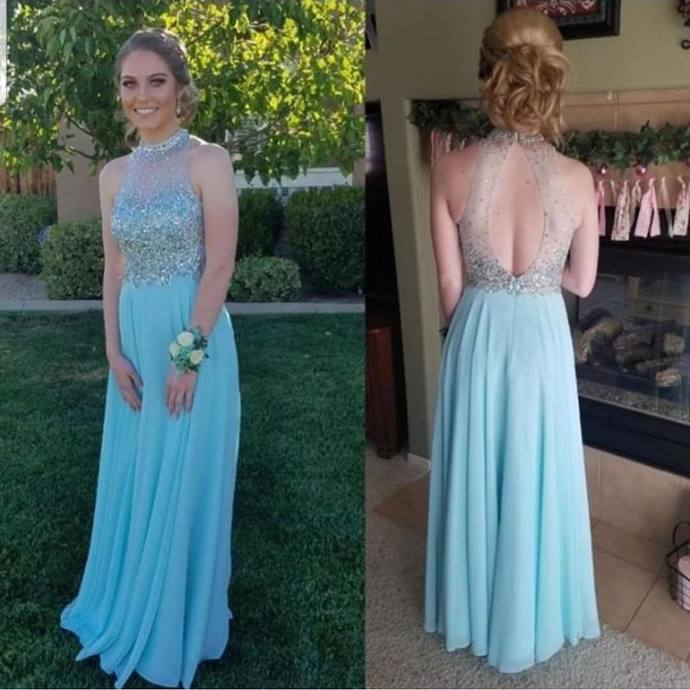 Charming Prom Dress,Chiffon Prom Gown,Beading Prom Dress,O-Neck Wedding Gown