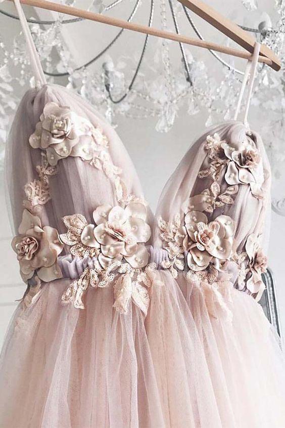 Pink Party Dress V Neck Evening Dress Tulle Applique Long Prom Dress Graduation