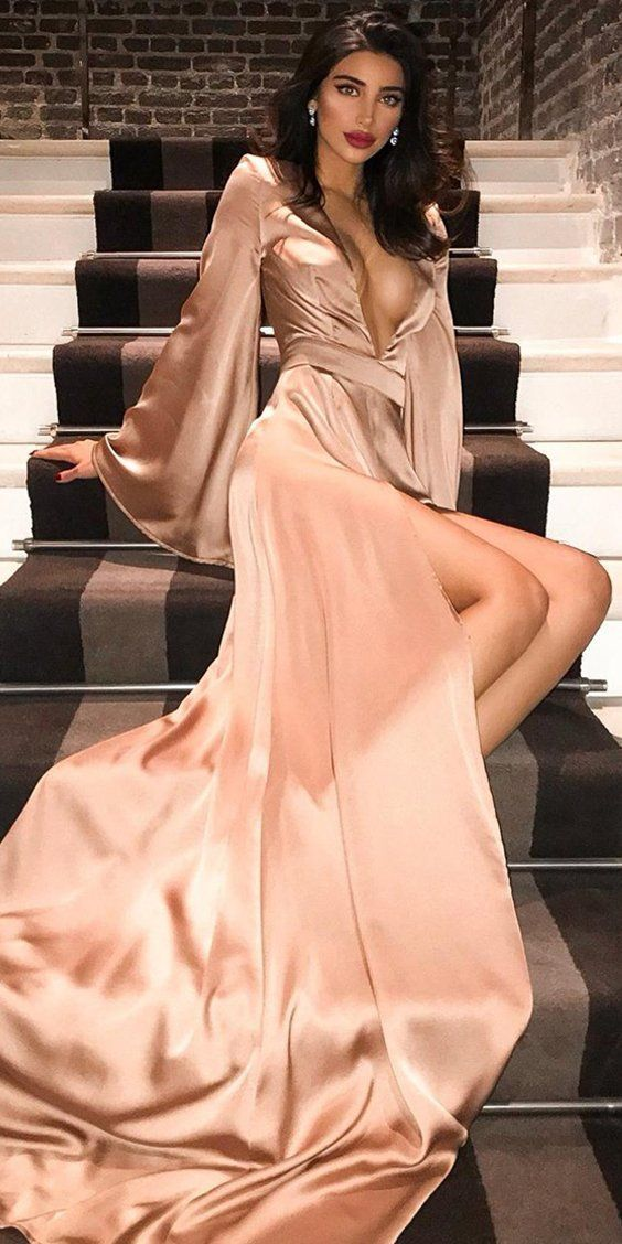 Sexy Deep V-Neck Long Sleeve A-Line Slit Prom Dress,Party Dresses,Fashion Prom