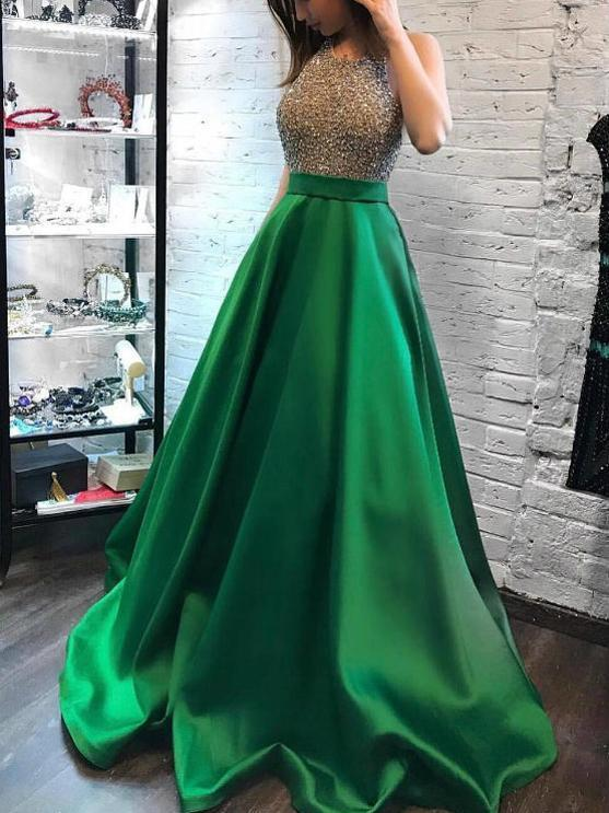 Green Prom Dress Simple Modest Elegant African Cheap Long Prom Dress , CD414