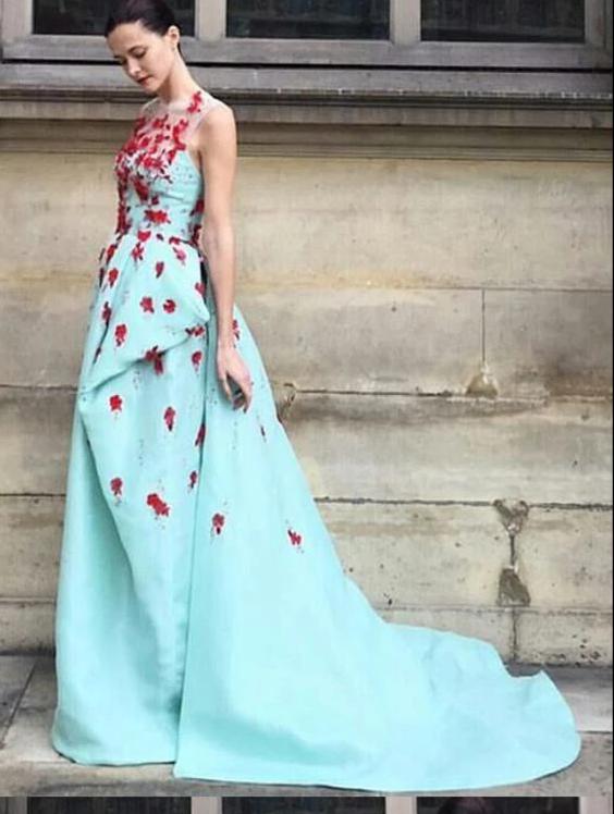 A Line Prom Dress Modest Beautiful Floral Cheap Long Prom Dress, CD416