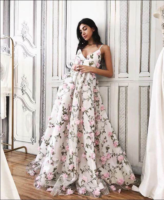 Floral Pink Prom Dress Lace Long Prom Dress , CD417