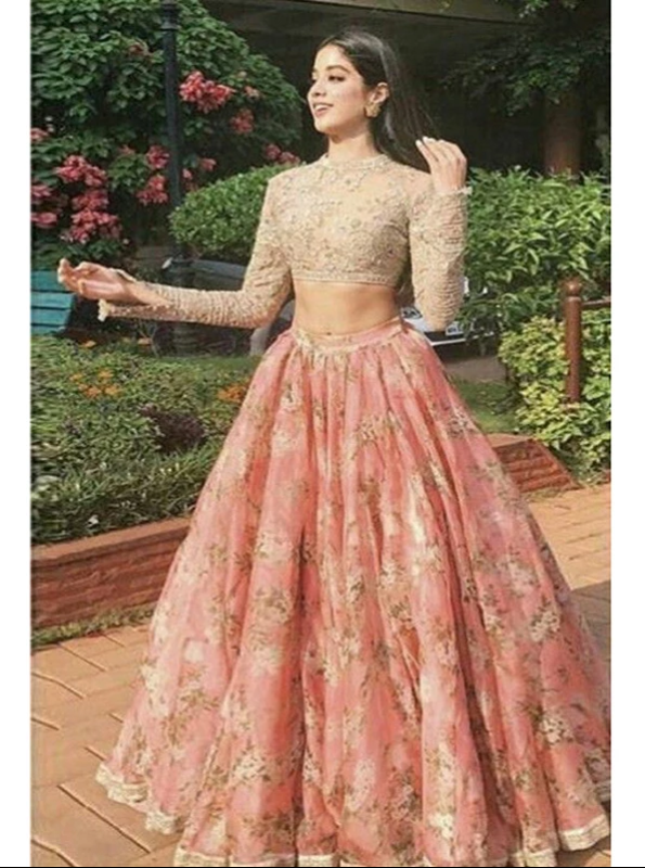 Two Piece Lace Prom Dress Indian Gold And Pink Prom Dress With Sleeve, CD419