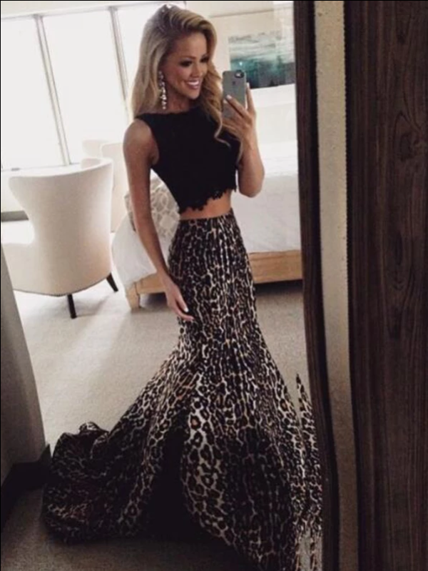 Leopard Print Black Prom Dresses Long Mermaid Two Piece Evening Gowns, CD421