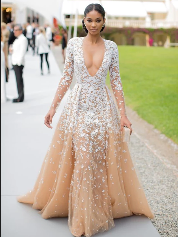 Mermaid V Neck Prom Dress Lace Long Sleeve African Prom Dress, CD422