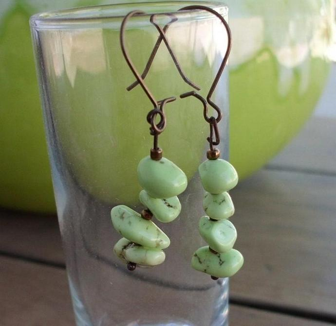Lime Green Turquoise Earrings on Antiqued Brass