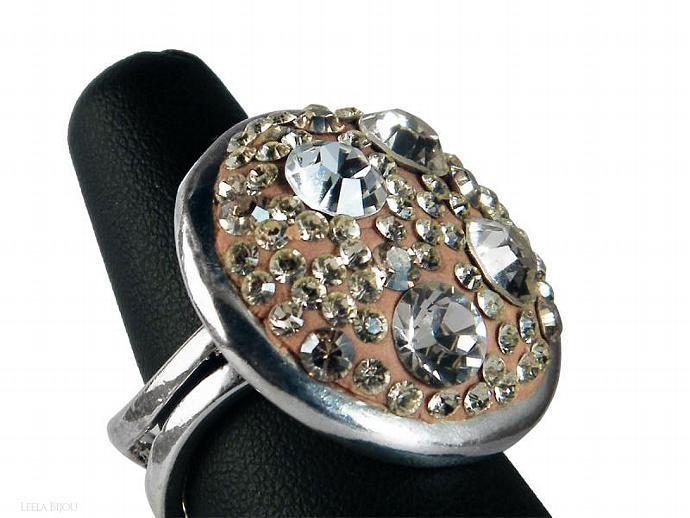 Golden Crystal Clear Ring Swarovski Crystal Silver Plated Orange