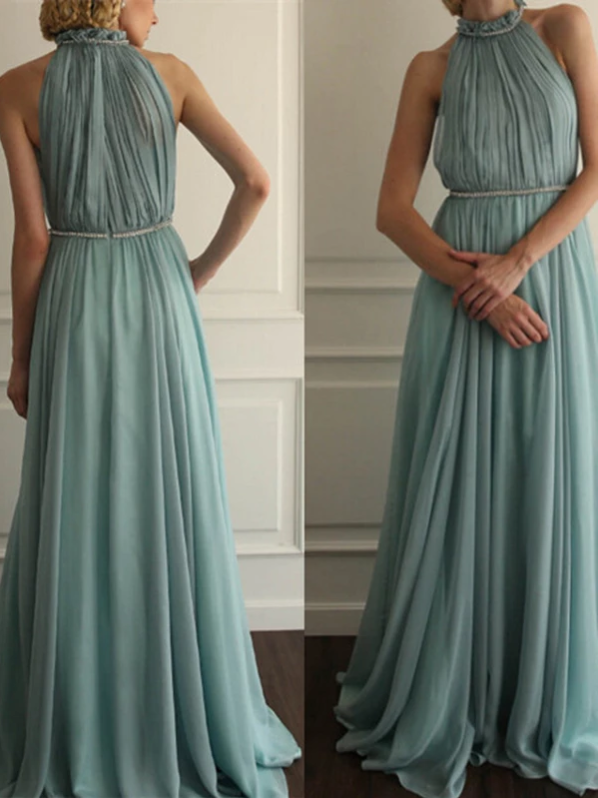 Green Chiffon Prom Dress A Line Cheap Prom Dress, CD427