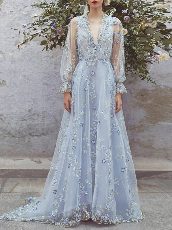 Lace V neck Prom Dress Floral Long Prom Dress, CD428