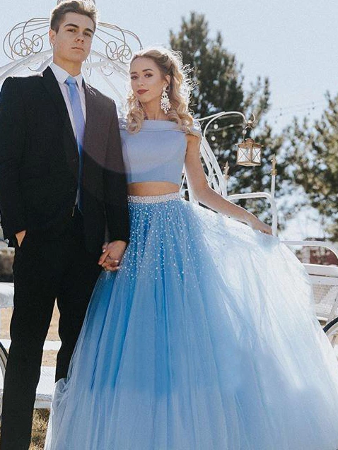 Two Piece Off The Shoulder Prom Dress Cheap Long Prom Dress, CD429