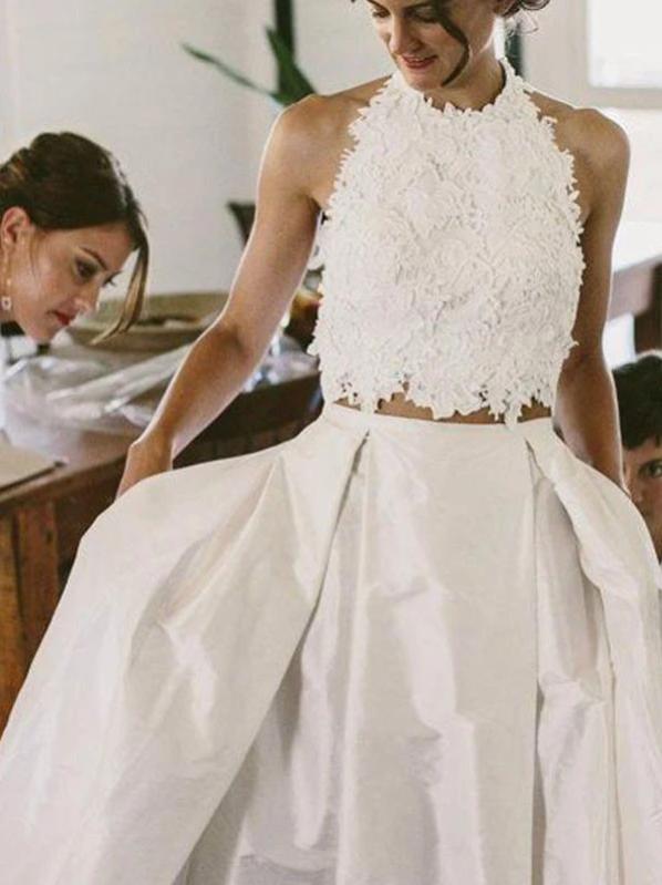 Two Piece Wedding Dress Plus Size Lace Vintage Wedding Dress, CD432