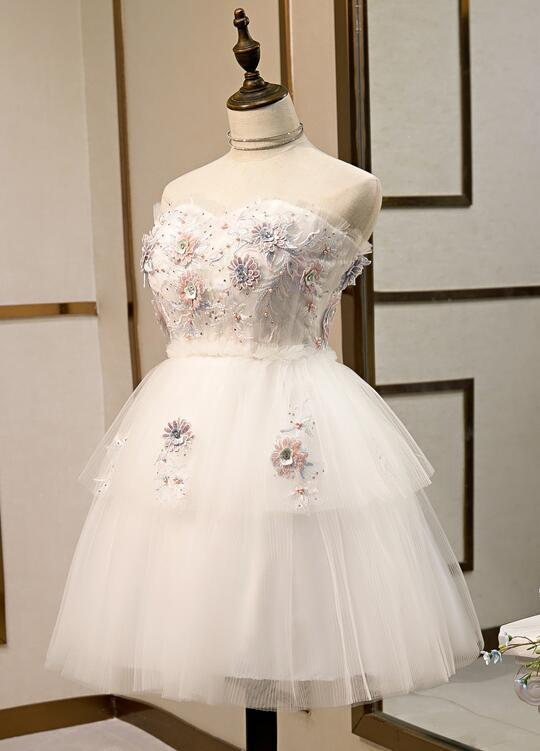 Beautiful White Tulle Party Dress, Short Cute Teen Formal Dress