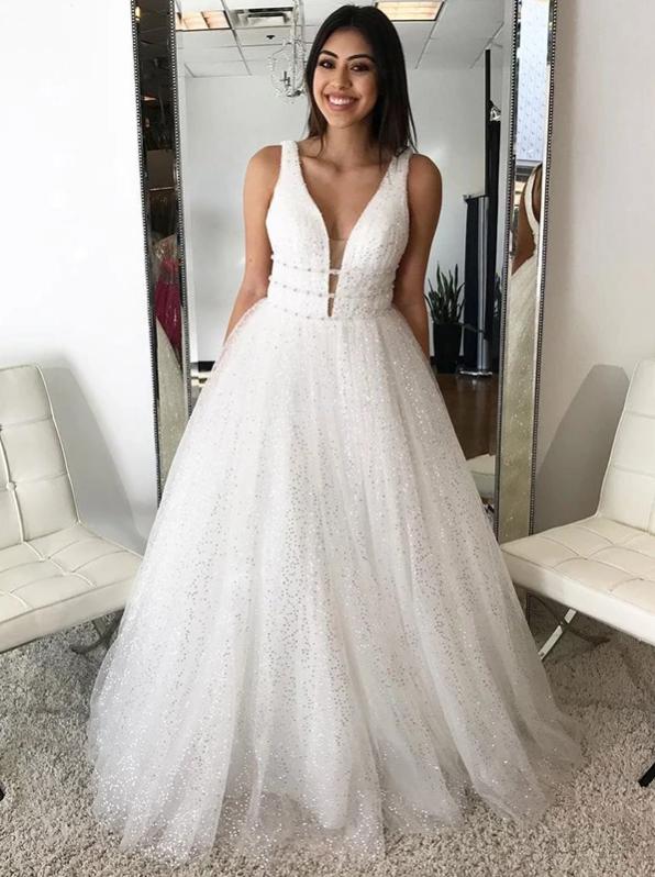 Ivory Long Prom Dress Simple Modest Elegant V Neck Cheap Prom Dress, CD437