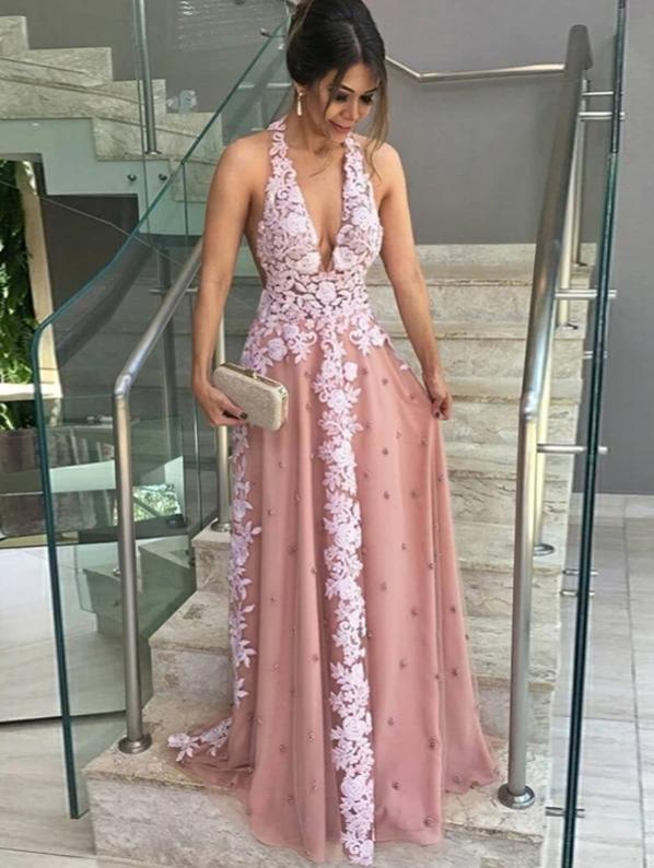 A-line Halter Floor-length Sleeveless Tulle Prom Dress/Evening Dress, CD440