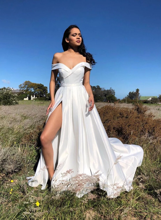 White satin long prom dress white evening dress, CD441