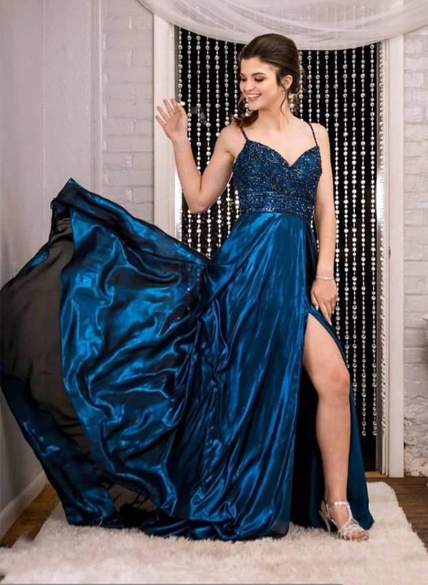 Blue beads satin long prom dress evening dress, CD444