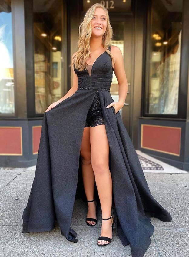 Unique black long prom dress black evening dress, CD446