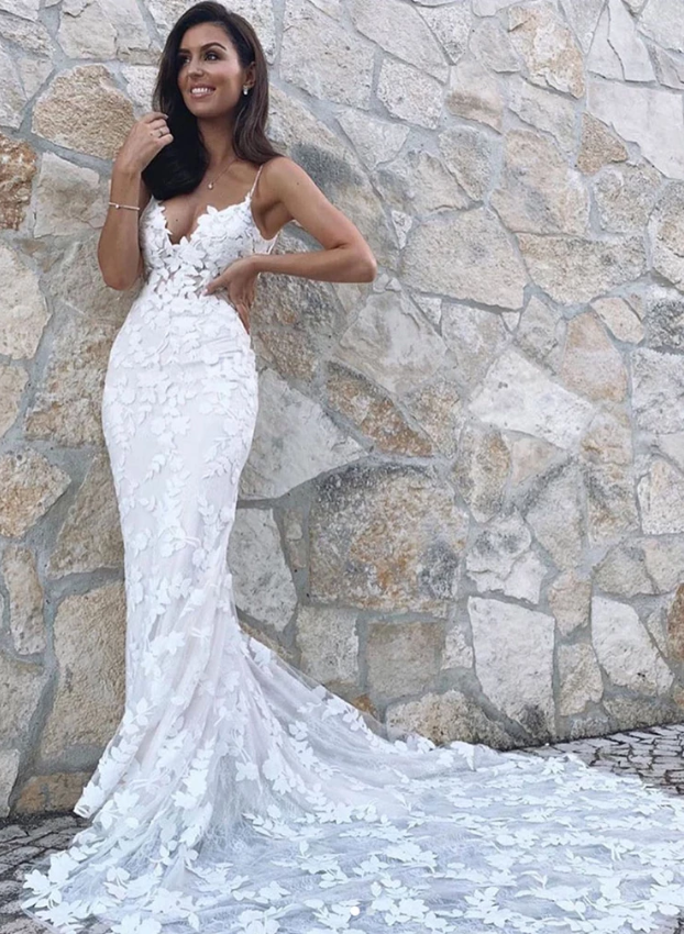 White applique long mermaid prom dress evening dress, CD447