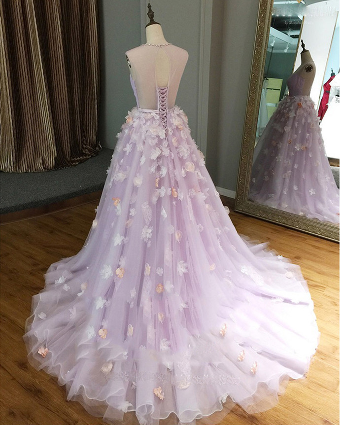 Lavender tulle v neck long 3D flower lace long evening dress