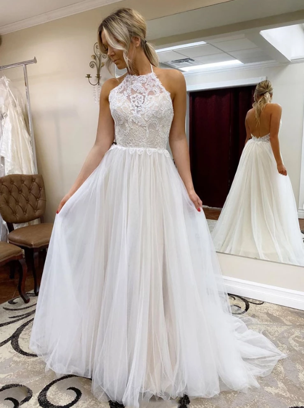 Elegant tulle lace long prom gown white evening dress, CD449