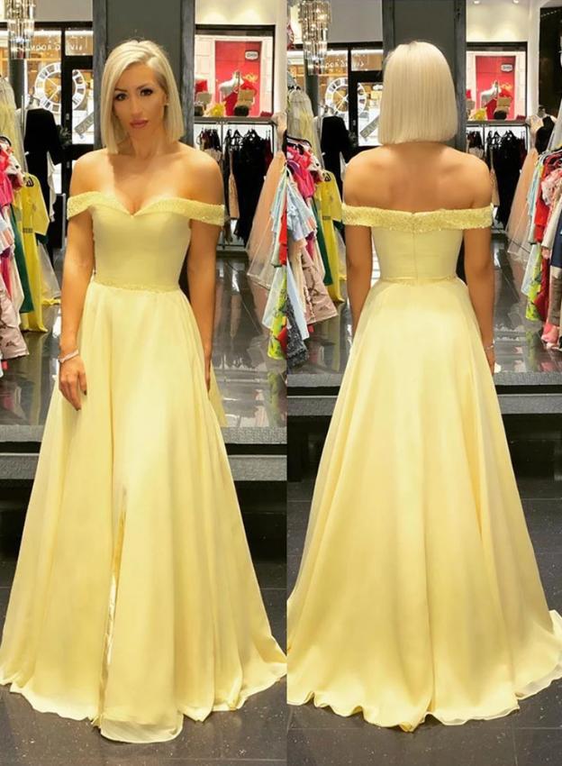 Yellow long a line prom dress, yellow evening dress, CD451