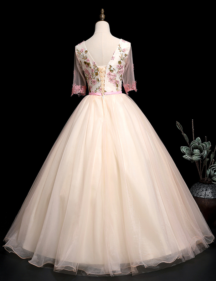 Unique pink tulle v neck long lace applique evening dress with mid sleeve