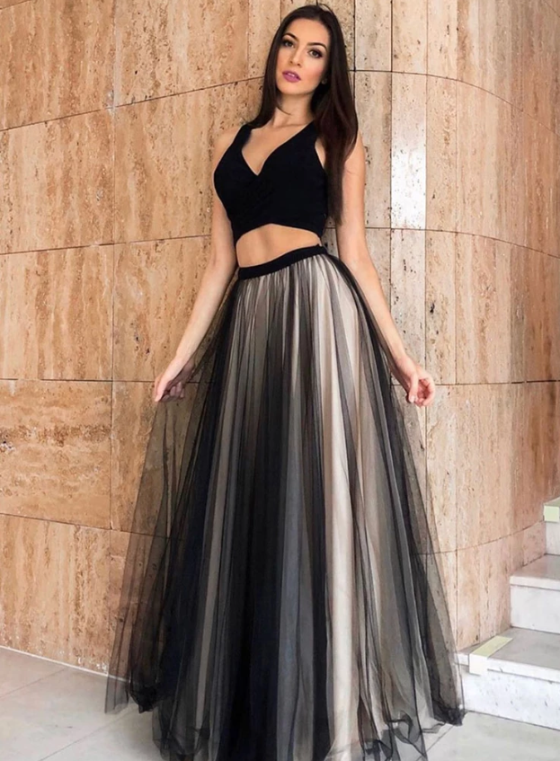 Black tulle two pieces evening dress, evening dress, CD455