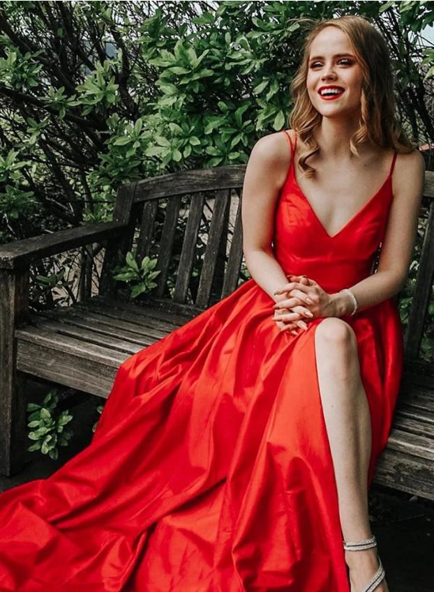 Red v neck satin long prom dress, red evening dress, CD456