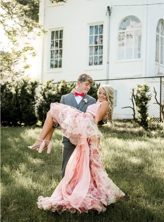 Pink tulle floral pattern long prom dress, two pieces evening dress, CD458