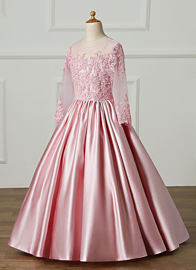 Pink Satin Long Sleeve A Line Sweet 16 Prom Dress With Bowknot