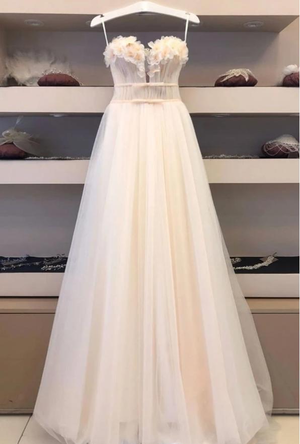 Elegant tulle sweetheart long prom dress tulle formal dress, CD461