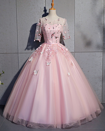 Pink Tulle Mid Sleeve Embroidery Lace Sweet 16 Prom Dress, Quinceanera Dress