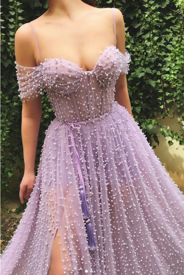 Purple sweetheart off shoulder tulle beads long prom dress, CD463