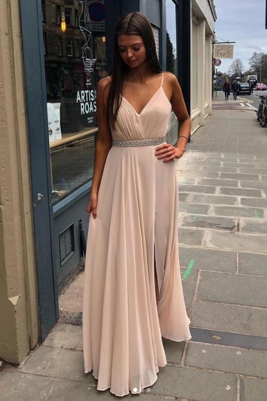 Simple v neck chiffon long prom dress chiffon evening dress, CD466