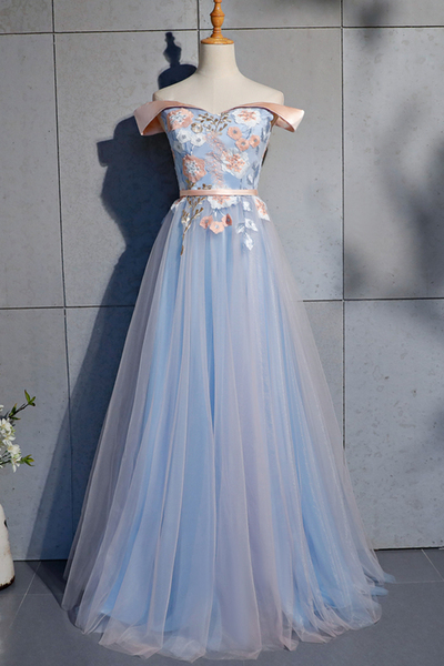 Blue Tulle Strapless Custom Size Long A Line Prom Dress With Applique