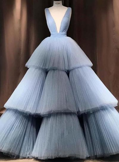 Blue Tulle V Neck Layered Long Formal Prom Dress, Ball Gown