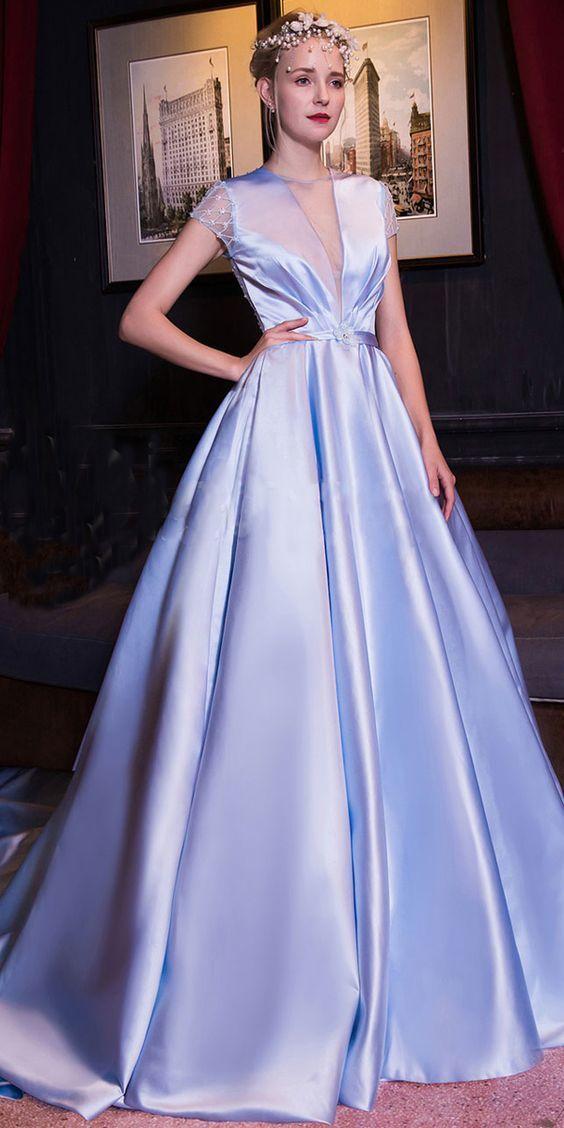 A-line Prom Dress , Luxury Satin V-neck Neckline Evening Dress , Cut-out Short