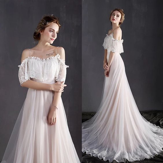 A-Line Deep off-shoulder chiffon Appliques Floor-Length Long Sexy Party evening