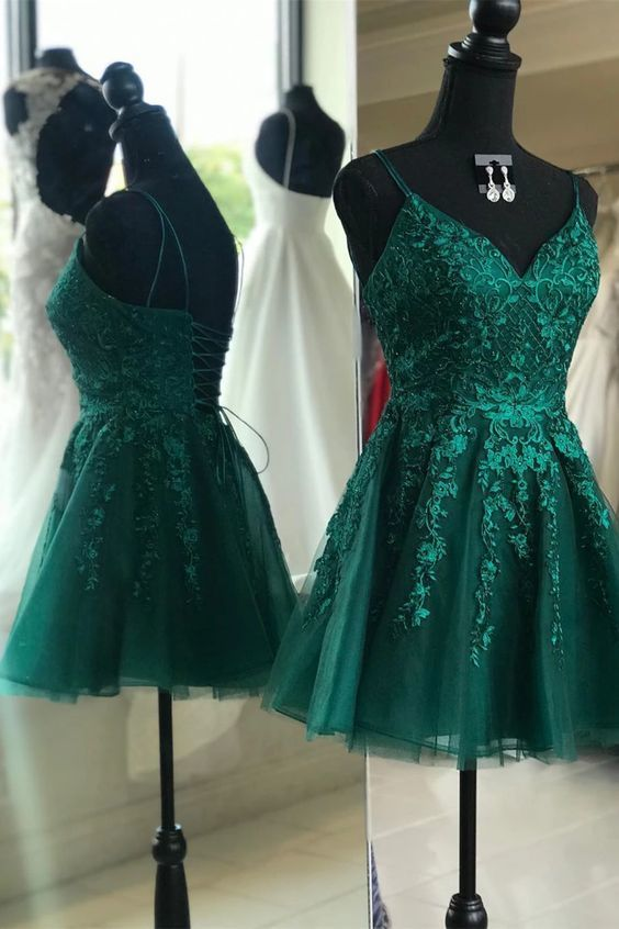 Emerald Green Short Homecoming Dress