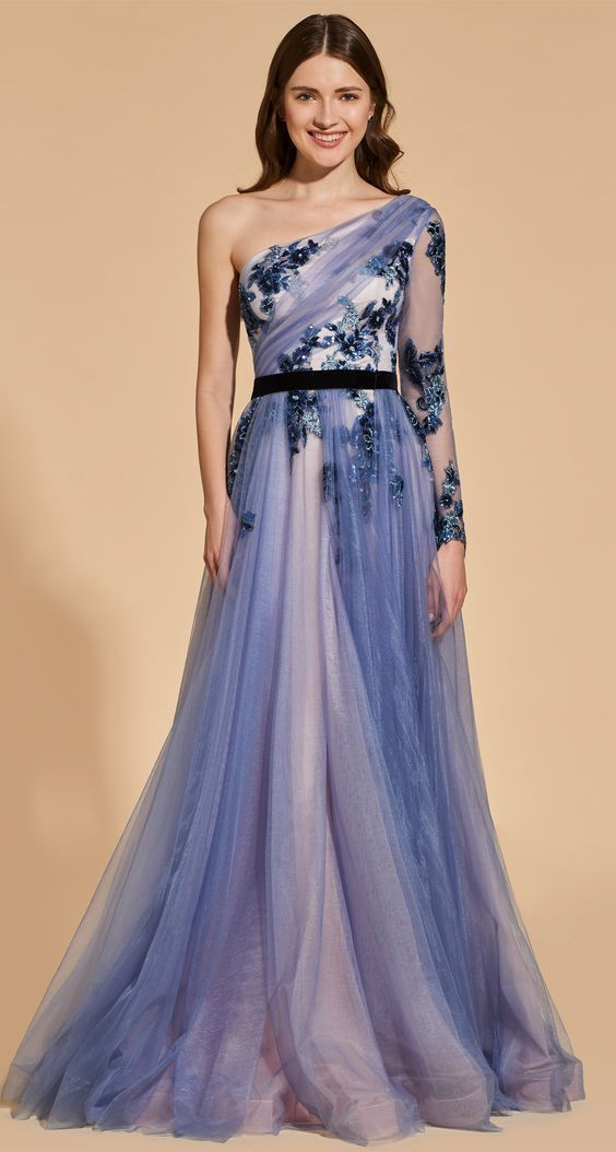 A-Line Beading One-Shoulder Lace Prom Dress,Custom Made,Party Gown,Cheap Evening