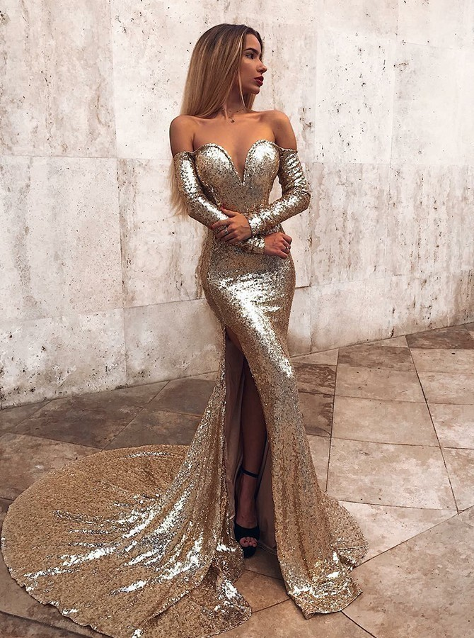 Sexy Long Sleeves Champagne Sequins Long Evening Dress with Slit Long Evening