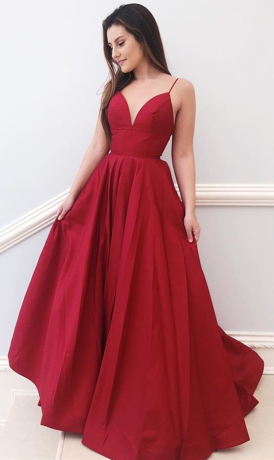 Simple Straps A-line Evening Dress Red Long Prom Dress Cheap Formal Gowns P2316