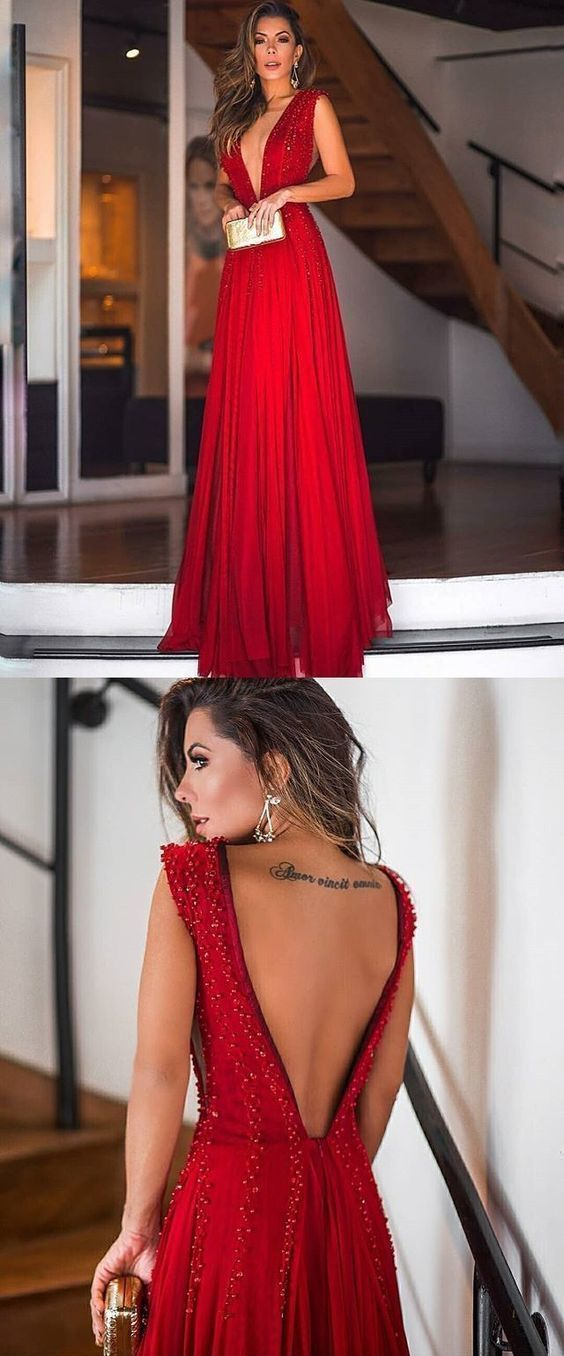 Sexy Red Prom Dress A-Line Backless Deep V-neck Beads Sleeveless Chiffon Formal