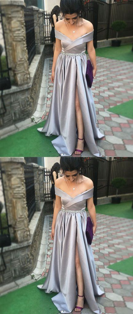 Simple gray satin long prom dress, gray evening dress Satin Formal Gowns P2321